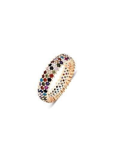 Aykat Yüzük Tamtur Karışık Renk Taşlı Roz Gümüş Bayan Yüzüğü Yzk-357 Gümüş